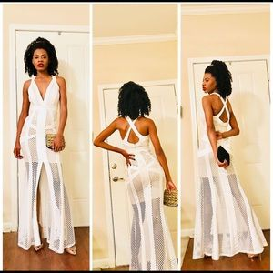 Dresses & Skirts - Netted White Formal Gown
